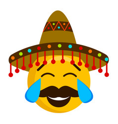 happy emoji with a mexican hat vector image