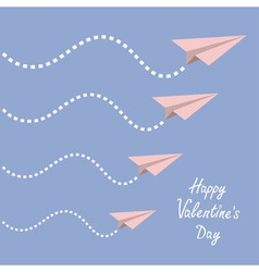 Happy Valentines Day Love card Four origami paper vector image