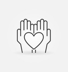 heart in hands outline icon vector image
