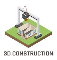Industrial 3D printer prints a house concept vector