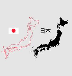 Japan map outline and silhouette vector