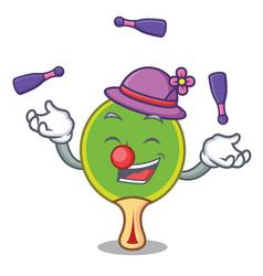 juggling ping pong racket mascot cartoon vector image