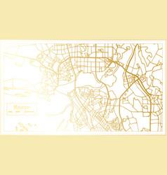 kazan russia city map in retro style in golden vector image