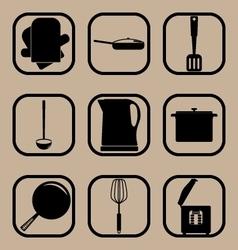 Kitchen utensils simple icon set vector