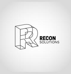 Line art lettering logo type r sign symbol icon vector