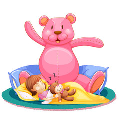 little girl sleeping in bed with big teddy bear vector image