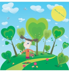 little girl with flowers in fantasy world vector image
