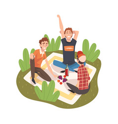 male friends having picnic in park happy young vector image