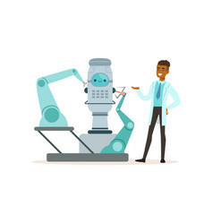 Male scientist working with robot conducting vector