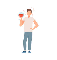 Man with a glass wine vector