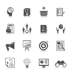 Marketers black icons set vector
