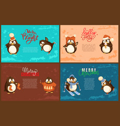 merry christmas penguin scarf skiing character vector image