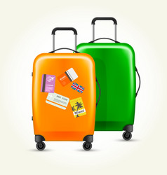 modern plastic wheeled suitcases with travel tags vector image