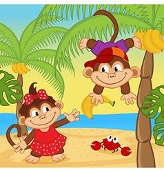 Monkey boy gives girl banana vector