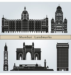 Mumbai landmarks and monuments vector image