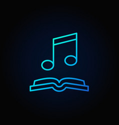Musical note with book blue icon vector