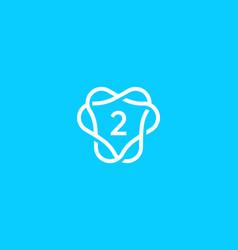 Number 2 logo icon design template creative vector
