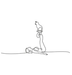 One line drawing woman doing yoga with cat vector