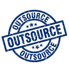 Outsource blue round grunge stamp vector