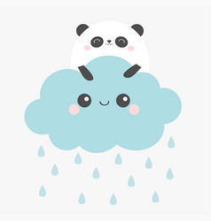 panda bear face holding cloud in sky rain vector image