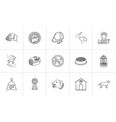 Pets hand drawn outline doodle icon set vector