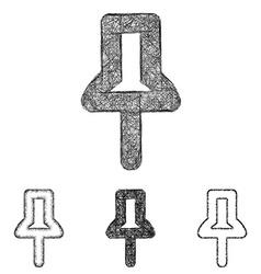 Pin icon set - sketch line art vector