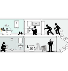 quick emergency response to flooded bathroom vector image