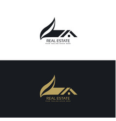Real estate logo design with house and leaf shape vector