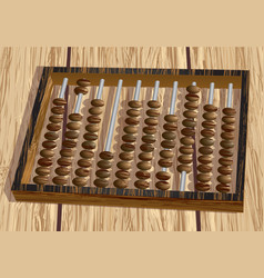 Retro abacus on table vector