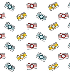 Retro camera pattern on white background vector