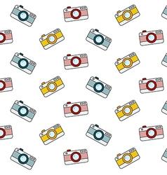 Retro camera pattern on white background vector image
