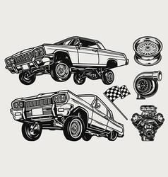 Retro custom cars vintage monochrome concept vector