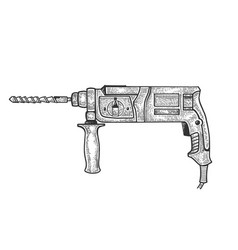 rotary hammer power tool sketch vector image