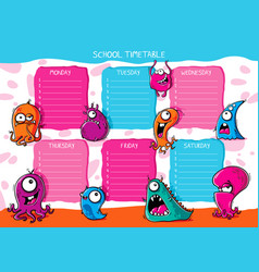 School timetable funny monsters vector