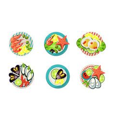 seafood set shrimp oysters mussels and vector image