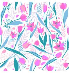 seamless pattern of cute stylish tulips vector image