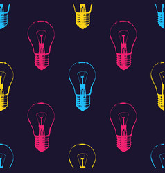 seamless pattern with light bulbs modern hipster vector image