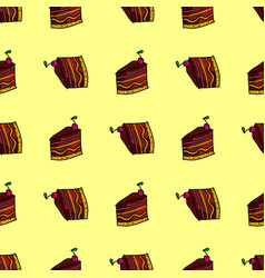 seamless pattern with pieces cakes pies in vector image