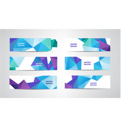 Set banners with polygonal geometric vector