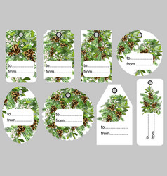 set christmas and new year tags blank and as a vector image