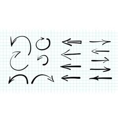set hand-drawn arrow doodles vector image