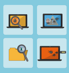set of hacker icons vector image