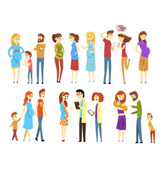 Set of young families cartoon people expecting vector