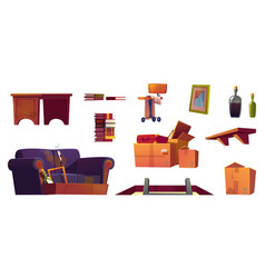 Set old furniture stored on house attic vector