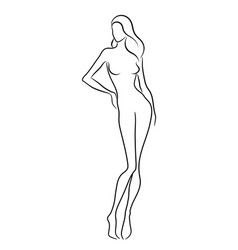 silhouette a beautiful nude woman vector image