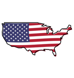 Simplified map - united states of america outline vector