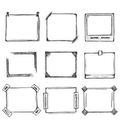 Sketch of hand drawn frame set vector
