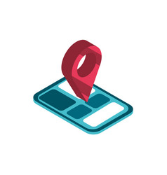 smartphone pin location online shopping isometric vector image
