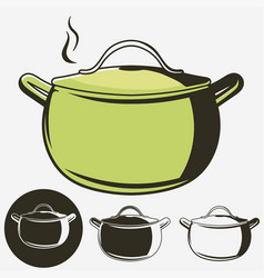 Soup pan pot of hot icon isolated vector