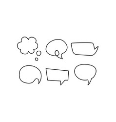 Speech bubble line icons set text balloons of vector